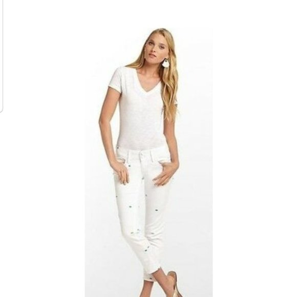 Lilly Pulitzer worth skinny mini embroidered jeans